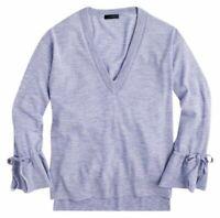 NWT J Crew Womens Drawstring Merino Wool V Neck Sweater Lavender hi low Bell S