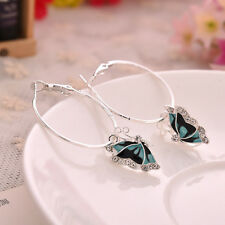 Fashion 1Pair Blue Crystal Rhinestone Enamel Butterfly Dangle Hoop Earrings