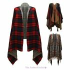 LADIES WOMENS KNITTED WINTER TARTAN CAPE STYLISHED CHECKED PONCHO ONE SIZE