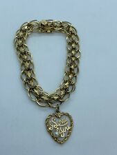 Vintage 14k Solid Yellow Gold Charm Bracelet & I LOVE YOU Pearl Heart 17.2 GRAMS