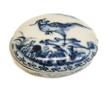19th century Chinese Seal Paste Box, Blue and White glaze, with pheasant on lid.