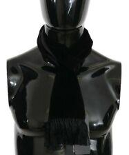DOLCE & GABBANA Scarf Black Velvet Fringes Shawl Wrap s. 15x140cm RRP $250