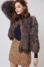 TOPSHOP SIZE 8-10 GREY BRONZE FUR STYLED JACKET WOMENS SPARKLY GLITTER XMAS