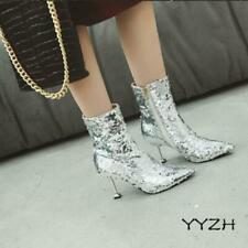 Women Sequins Stiletto High Heels Stage Party Shoes Shiny Pointy Toe Ankle Boots