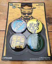 Breaking Bad Official Badge Pack/x4 Retro Pin Badges/Heisenberg/Saul/New!