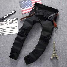 Men's Distressed Ripped Jeans Moto Black Denim Pants Slim Skinny Fit Trousers