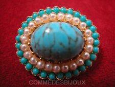 """Broche """"Néo Classique"""" N° 073 Cabochon Turquoise Veiné - Bijoux Vintage Sphinx"""