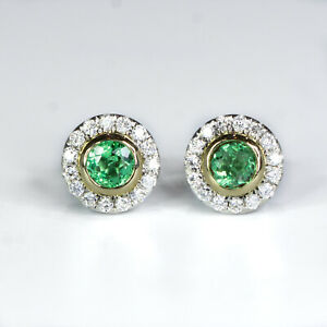 Round Colombian Emerald and Diamond Stud Earrings