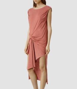 All Saints Riviera Devo Jersey Dress in Rose Pink Size L BNWT £98