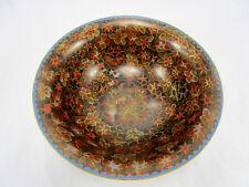 "Vintage Antique Chinese Amber Floral Cloisonne Bowl 9"" w/ Blue Enamel"