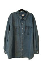 LEVIS Mens Denim Western Long Sleeve Shirt, Size 4XL