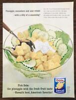 1963 Dole Hawaiian Pineapple Print Ad Sour Cream Cuke Dill Pineapple Salad