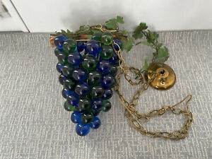 Vintage Mid-Century Lucite Acrylic Blue Green Grape Cluster Swag Light Lamp