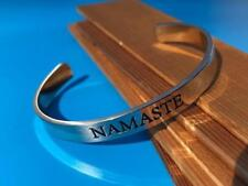 """NAMASTE""  STAINLESS STEEL  AFFIRMATION MONTRA BRACELET CUFF"