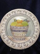 """AMERICAN ATELIER FRUIT TOILE DINNER PLATE 10 1/2"""" FRUIT IN BOWL LIME LEMON"""