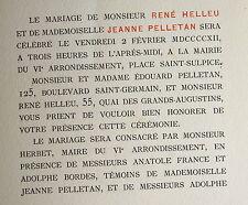Faire part mariage Rene Helleu et Jeanne Pelletan , 1 fascicule in 8 (150 mm x 1
