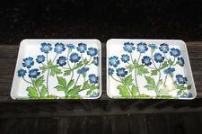 Set Vintage Melamine Trays MEBEL Flowers Floral Italy Appetizer Trays Trinket 2