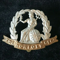 WW1 The Norfolk Regiment Bi Metal Cap Badge 100% Genuine Military Army B7/2