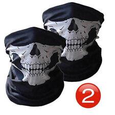 2 x Skull Skeleton Shield Face Mask Neck Tube Scarf Biker Motorcycle Ski Bandana