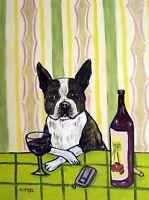 BOSTON TERRIER - 11x14 print - wine wall art - whimsical dog art - modern art
