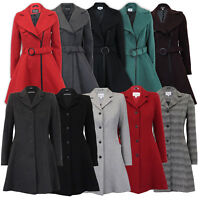 Ladies Coat Womens Jacket Wool Look Belt Long Trench Warm Winter New