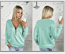 Damen Zipper Sexy-V Langarm Hoodie Tops Pullover Gr.36-48 Freizeit T-Shirt Neu