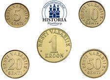 Estland 1,85 Kronen Kursmünzen 1991 bis 2001 bfr. Münzsatz vor Euro aus 5 Münzen