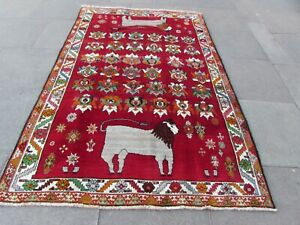 Vintage Traditional Hand Made Oriental Gabbe Wool Red Rug 243x158cm Animal Lion