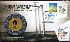2015 Gold Ovpt ICC Cricket World Cup Medal LTD3500 ACTUAL CRICKET STUMP PNC/FDC