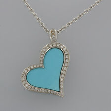 Piaget 18ct White Gold Heart Diamond and Turquoise Pendant Necklace