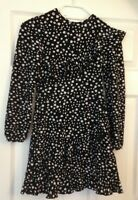 Girls age 9-10 River island black floral ruffle long sleeve dress new with tags