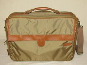Hartmann Packcloth Overnighter Briefcase Bag Khaki Nylon & Leather Handle