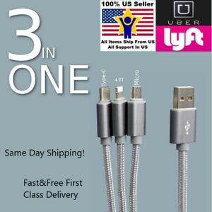 3in1 Multiple Connecter USB C Micro USB Cable Charger for Uber Lyft Driver Cars