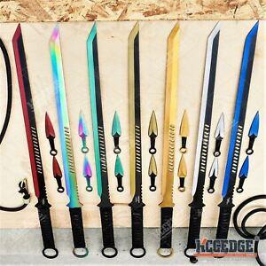 "27"" NINJA SWORD TANTO Machete + 2  Knife Full Tang Tactical Blade Katana"