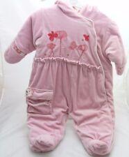 Marese- Combipilote rose velours motif fleurs papillon brodés bébé fille 9 mois