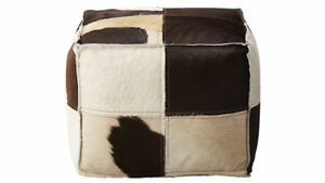 Indian Handmade Leather Cowhide Hair on Ottoman Pouf  Leather Ottoman Pouf