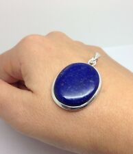 lapis Lazuli Oval Pendant, Solid Sterling Silver, Actual One. UK Seller. 30 X 24