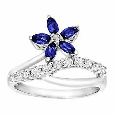 1 Ct Created Blue & White Sapphire Flower Ring in 10k Gold Size 7