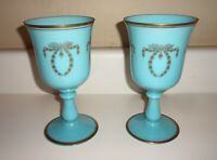 Vintage Pair French Portieux Vallerysthal PV Blue Opaline 12 oz. Goblets