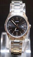 Casio LTP-1302D-1 Women Analog Dress Stainless Steel Black Watch 100% Original