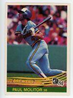 1984 Donruss #107 PAUL MOLITOR Rare BASE BASEBALL CARD Milwaukee Brewers HOF