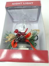 Christmas Hurricane Electric Night Light Red Bird Greenery Candle Look $28