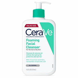 CeraVe Foaming Cleanser 16 oz for Daily Face Washing, Normal to Oily Skin
