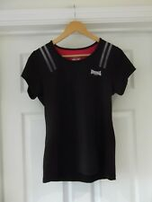LONSDALE Gym Top Black Short Sleeve Stretch Fit Active Wear UK Size 16