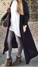 NWT LuLaRoe Noir & Blanc Sarah Black Solid Duster Cardigan Size Large L