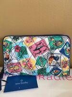 NWT Vera Bradley Cuban Stamps RFID Grab & Go Wristlet Strap Zip Around Wallet