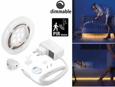 LED Bettlicht Bett Licht SET - Lichtband mit Bewegungsmelder + Dimmer - warmweiß