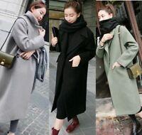 NEW Women Winter Warm Wool Lapel Long Coat Trench Parka Jacket Overcoat Outwear