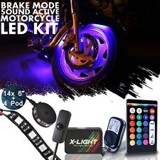 Custom Motorcycle UnderGlow Accent Neon 14 strip 4 Pod Light Kit 18 Color Strobe