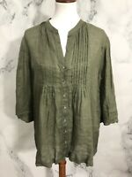 Tommy Bahama Womens Olie Green Lightweight 100% Linen Blouse Large